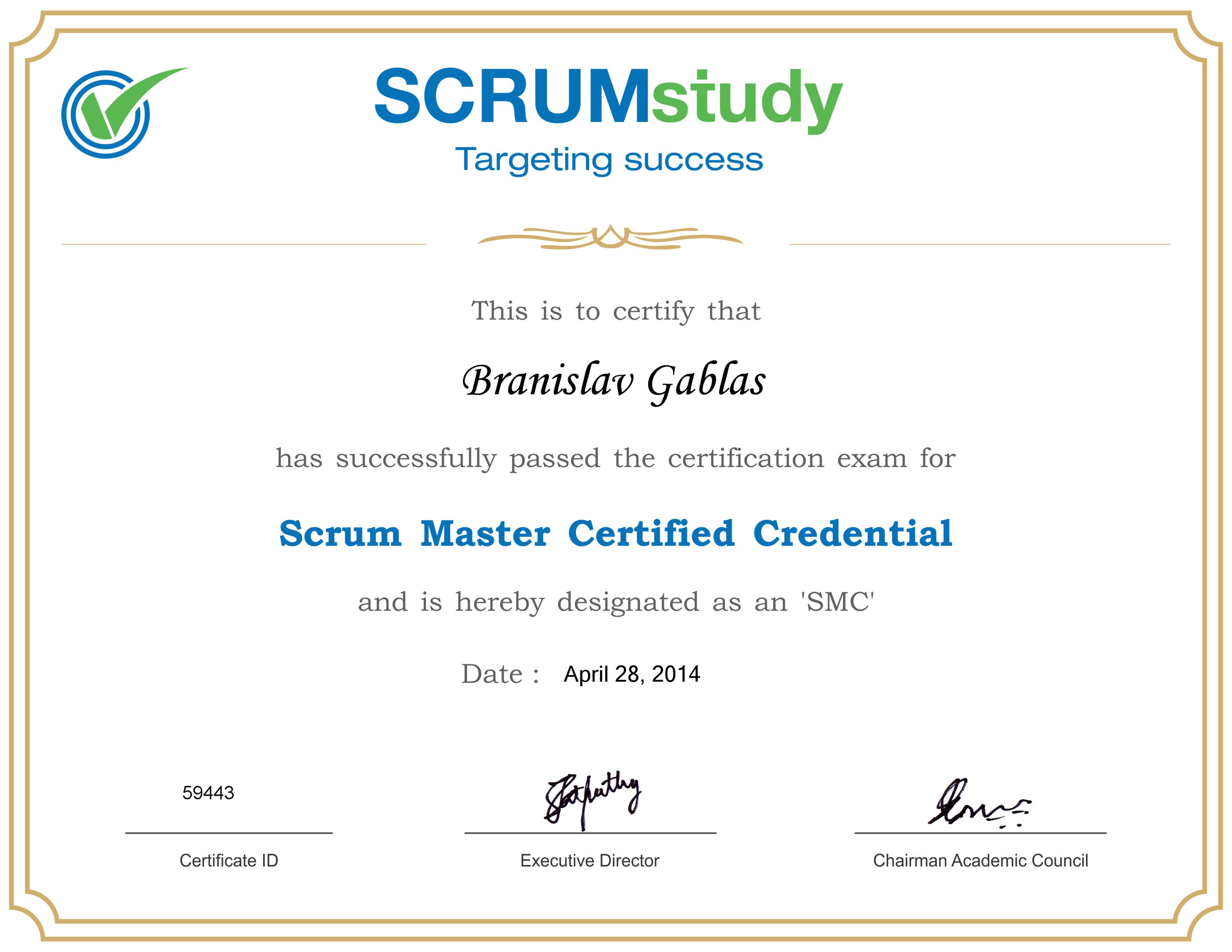 Po skúšobnom teste získavate Scrum Master certifikát