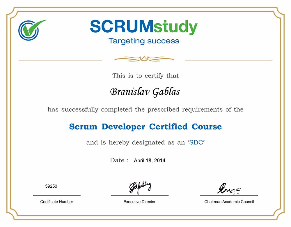 Školenie a certifikát Scrum Developer Certified