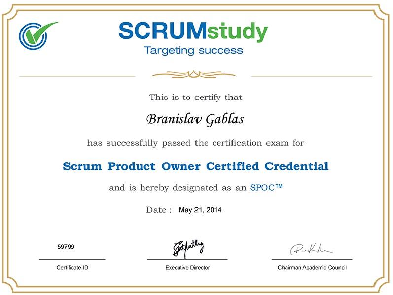 Certifikát Product Owner po zvládnutí skúšky a testu.