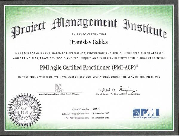 Gablas certifikát PMI-ACP skúška